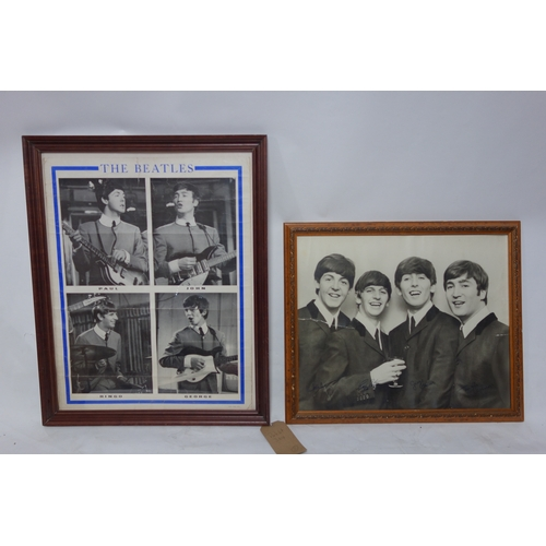 364 - A framed and glazed Beatles print with printed signtures (40x49cm) and another larger similar....