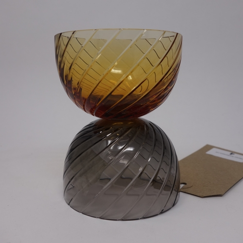 4 - A St Louis Le Endiables large amber and grey crystal candle holder, created by Jose Levy, H.12cm...
