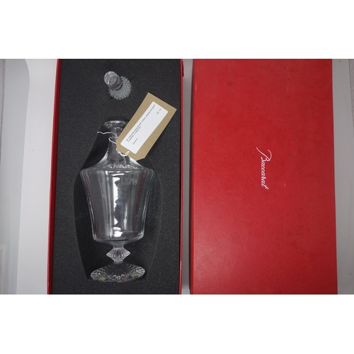 67 - A Baccarat crystal decanter, H.36cm, designed and signed by Mathias, in original box...