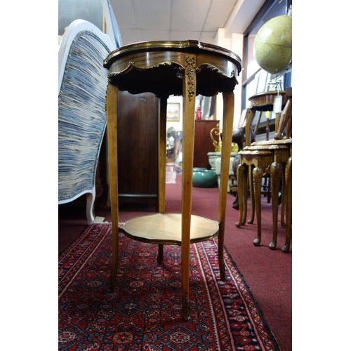97 - An early 20th century French walnut lamp table, with floral parquetry inlay and gilt metal mounts, H...