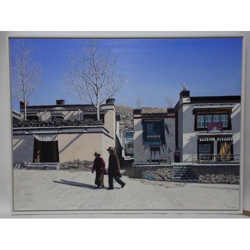 116 - Gheorghe Tincu, oil on canvas, titled 'Gyantse-Tibet', 91 x 122cm...