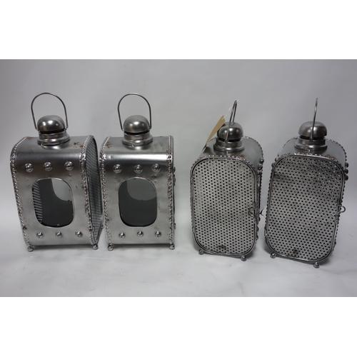 235 - Four Industrial style storm lanterns, H.50cm (4)...