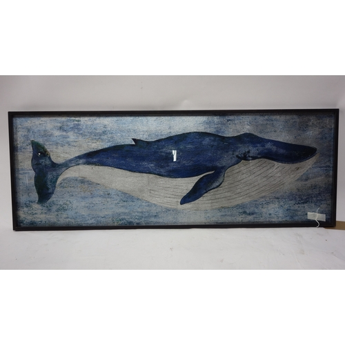 286 - A print on glass of a whale, 44 x 120cm...