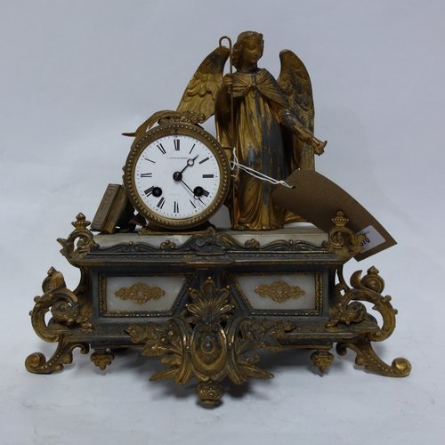 370 - A gilt metal mantel clock, by A. Springborg, drum barrel movement, enamel dial with Roman numerals, ...