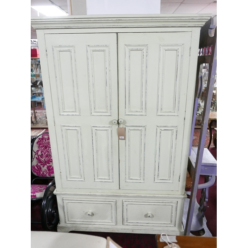 154 - A Halo cream painted wardrobe with drawers, H.198 W.126 D.63cm...