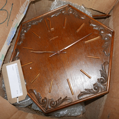 16 - A German Art Deco hexagonal oak wall clock by Junghams, the dial with gilt baton markers and Arabic ...