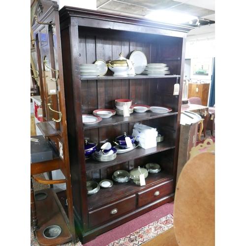 162 - A Lambok hardwood open bookcase with adjustable shelves, H.202 W.124 D.45cm...