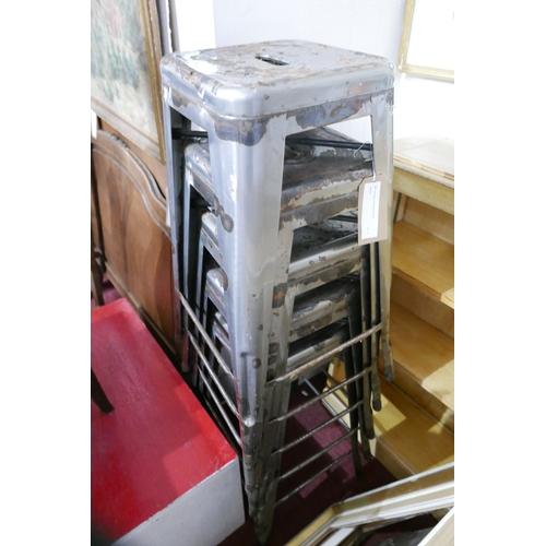 196 - A set of five Tolix industrial bar stools...