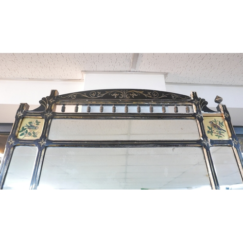 218 - A Victorian aesthetic ebonized over mantle mirror, with hand painted panels of birds, 146 x 127cm...