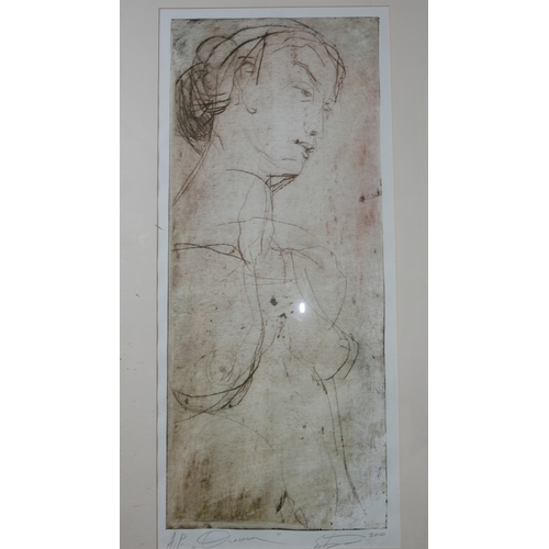 31 - A framed and glazed etching of a nude female, signed by the artist, H.80 W.33cm...