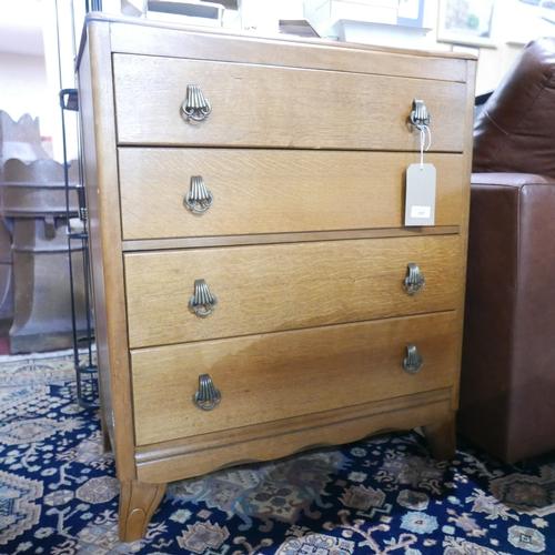 357 - An Art Deco oak chest of four drawers, H.90 W.77 D.44cm...