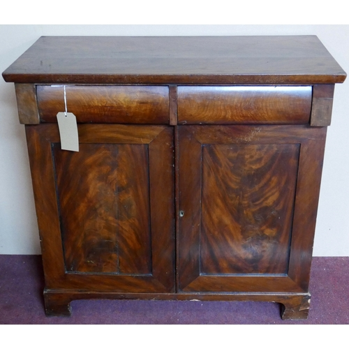 219 - An early 19th century mahogany Chiffonier, two drawers over two cupboard doors, raised on bracket fe...