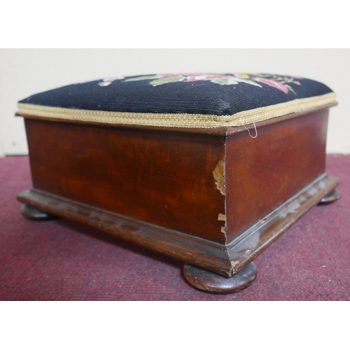 237 - A Victorian mahogany stool, with tapestry upholstery, raised on bun feet, H.19 W.39 D.36cm...