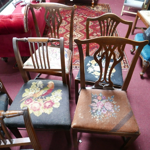 253 - WITHDRAWN- A harlequin set of seven 19th century dining chairs to include 4 mahogany and three oak a...