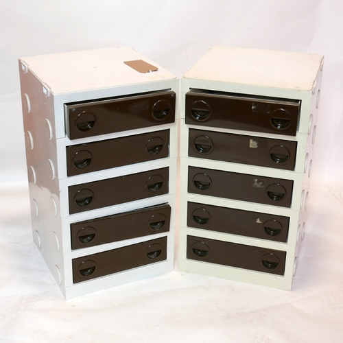 258 - A pair of Lego style plastic chests of drawers, H.65 W.37 D.36cm...