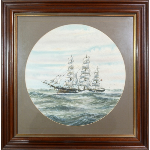 63 - Chris Williams (New Zealand), Waimate Seascape, ship at sea, watercolour, signed lower right, framed...