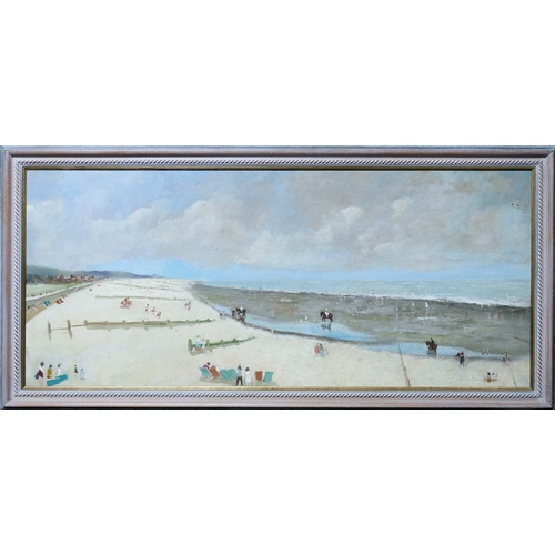 46 - A large 20th century oil on board depicting a panoramic view of a beach, unsigned, 50 x 117cm...