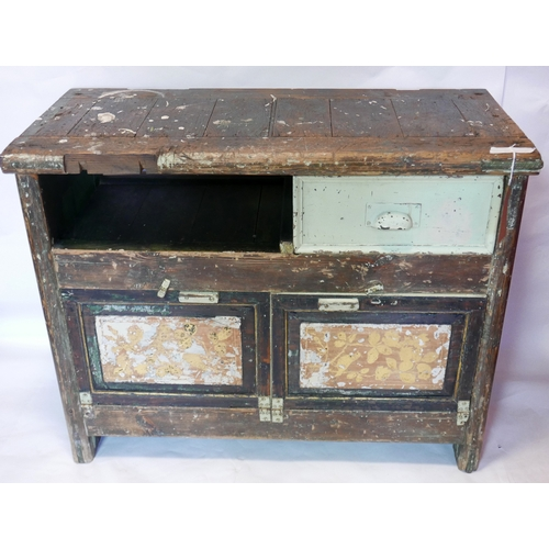 153 - An early 20th century industrial work bench, with remnants of factory green paint and gilt gesso flo...