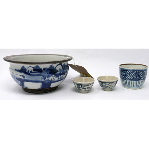 158 - Four pieces of late 19th/early 20th century Chinese blue and white porcelain to include 3 cups and a...