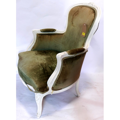308 - A Louis XV style cream painted armchair with green velour upholstery...
