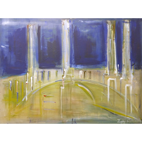 82 - Judy Gillard (Contemporary School), Battersea Power Station & Bridges, acrylic on canvas, signed low...