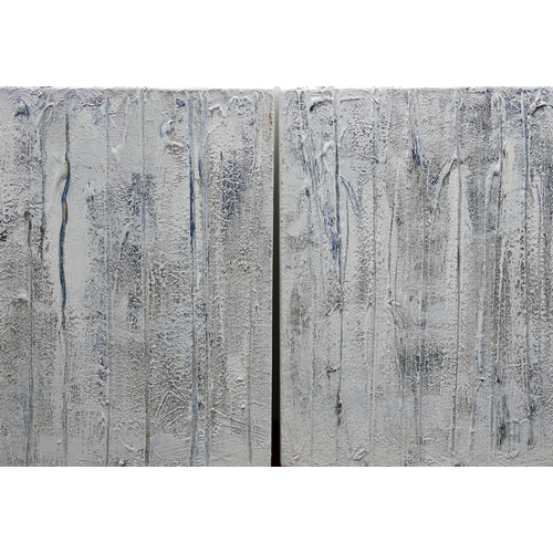 112 - Judy Gillard (Contemporary School), 'Strie 1 & 2', two abstracts, acrylic on canvas, monogrammed to ...