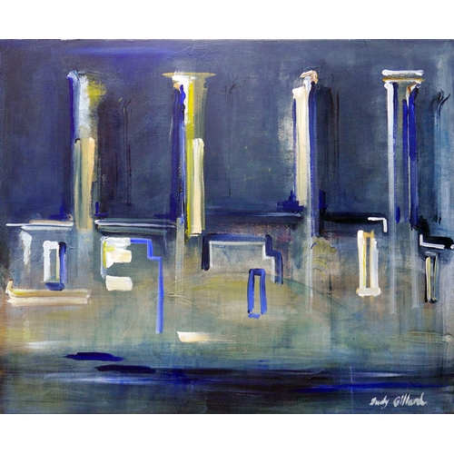 126 - Judy Gillard (Contemporary School), 'Battersea Blues', acrylic on canvas, signed lower right, 80 x 1...