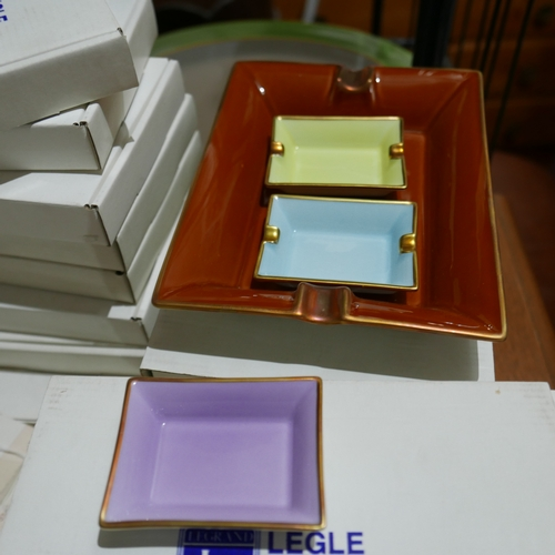 1180 - Legle Limoges, lilac porcelain and 18ct yellow gold (and other colours) collection of ashtrays....