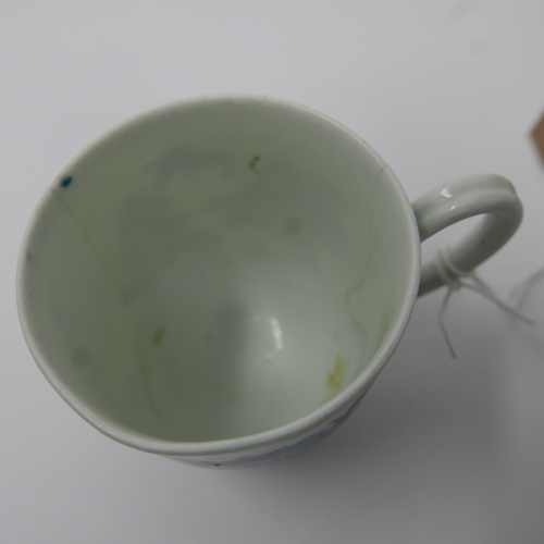 15 - A First Period Worcester blue and white porcelain teacup, with blue crescent moon mark to base, c.17...