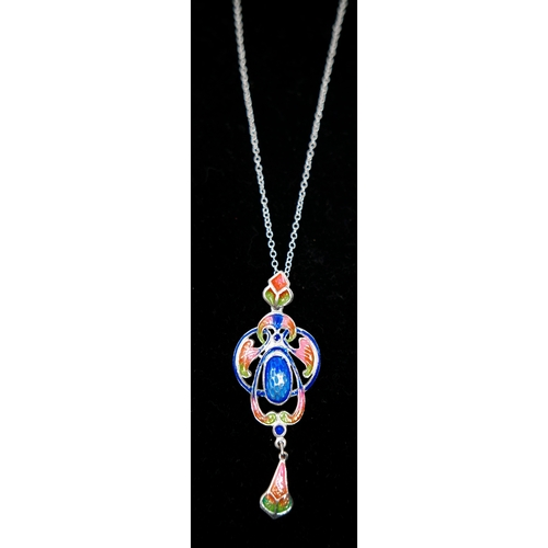 36 - A sterling silver and hand-enamelled pendant on silver chain (in the style of Charles Horner) - shad...