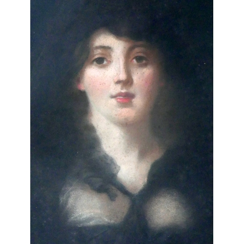 47 - Late 19th century school, Portrait of a Lady, pastel, in oval gilt wood frame, 60 x 48cm, with Warin...