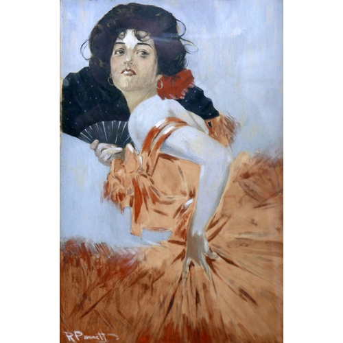 50 - Richard Pannett (British, late 19th/early 20th century), Portrait of a lady holding a fan, gouache, ...