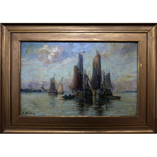 54 - H. Arden, Sail boats at sea, oil on canvas, signed lower left, in gilt wood frame, 29 x 46cm...