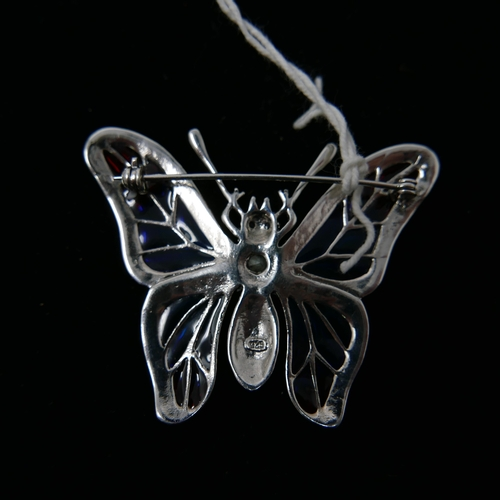 57 - A large sterling silver butterfly brooch, set with marcasites, plique-à-jour enamel wings, emerald a...