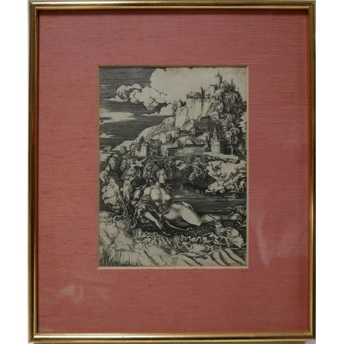 68 - After Albrecht Dürer (1471-1528), engraving titled 'Rape of Amy More', 25 x 18cm...
