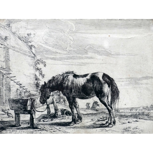 88 - An etching of a horse by a stable, signed, 15 x 20cm...