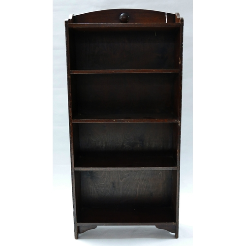 130 - An early 20th century oak open bookcase, H.106 W.49 D.15cm...