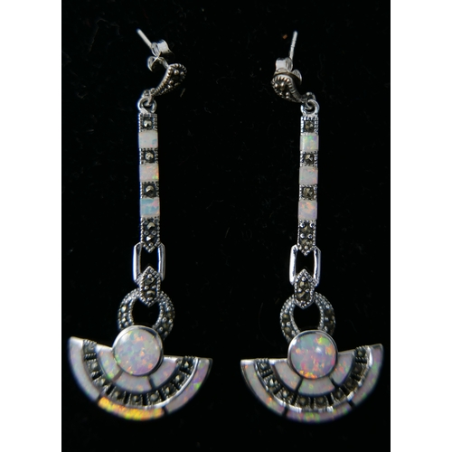 160 - A pair of sterling silver Art Deco style marcasite and opalite studded drop earrings, L: 6cm, 12.8g....