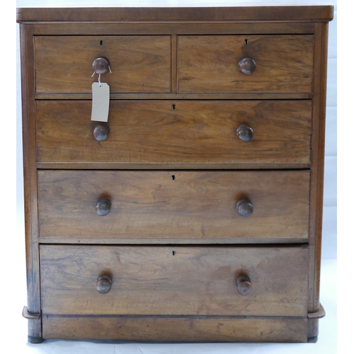 210 - A Victorian mahogany chest, two short over three long drawers, raised on bun feet, H.111 W.99 D.47cm...