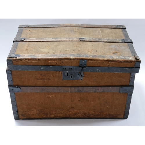 275 - An antique iron bound and canvas trunk, H.42 W.71 D.43cm...