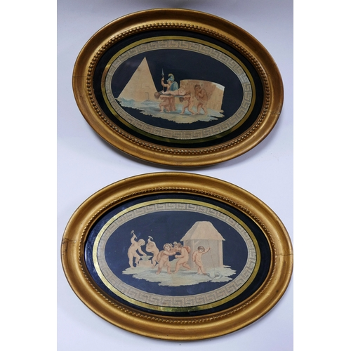 98 - A pair of 18th century prints, in oval gilt frames, 20 x 32cm...