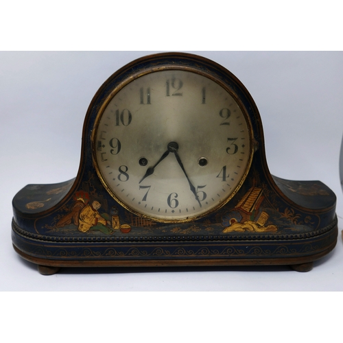 156 - A Chinoserie lacquered mantel clock, the silvered dial with Arabic numerals, lacquer case decorated ...