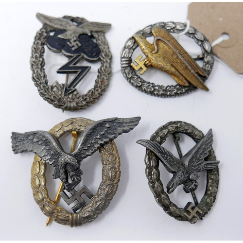 170 - Four reproduction Third Reich Luftwaffe badges, including Luftwaffe Paratrooper Combat Badge, a Luft...