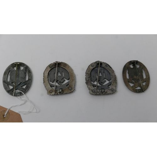 187 - Four reproduction Third Reich Army General Assault badges, to include two badges for 50 engagements,...