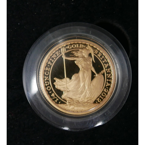 2 - A Royal Mint 2012 Britania gold 22ct gold coin, for the 25th anniversary 1987-2012, in original box...