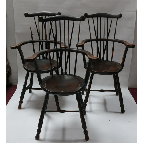 225 - Three 19th century Oliver Goldsmiths Windsor armchairs, one in need of repair...