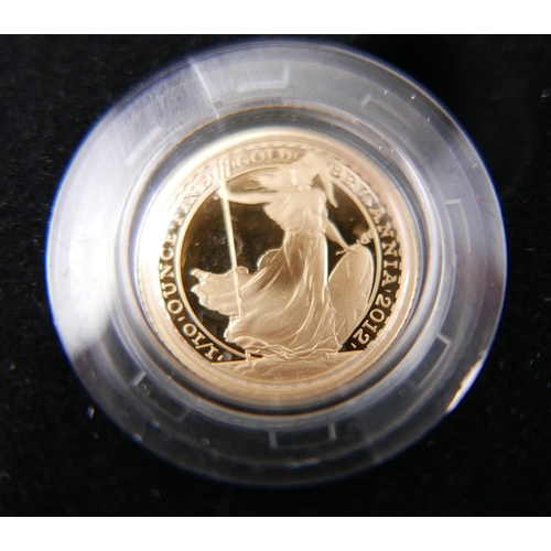 5 - A Royal Mint tenth of an ounce 22ct gold coin, for the 25th anniversary of Britannia 1987-2012, in o...