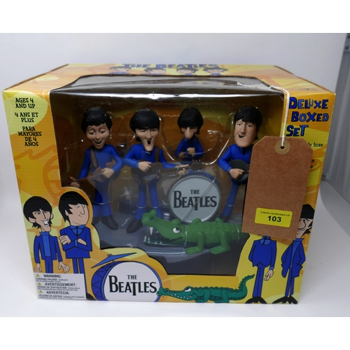 103 - The Beatles McFarlane Toys deluxe animated cartoon box set new in box...