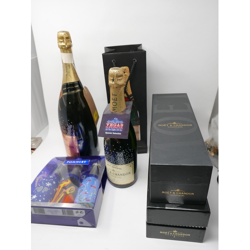 205 - Five various bottle of Moet & Chandon champagne and three small bottles...