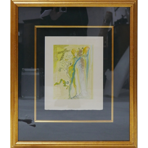 223 - After Salvador Dali, lithograph titled 'The Apparition of Dantes Great, Great Grandfather', 34 x 26c...